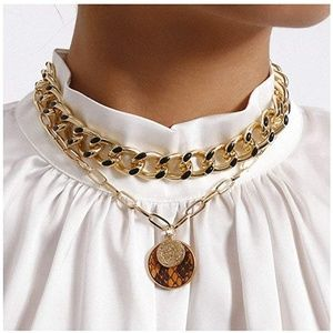 Jewelry - Retro Gold Coin Thick Chain necklace choker